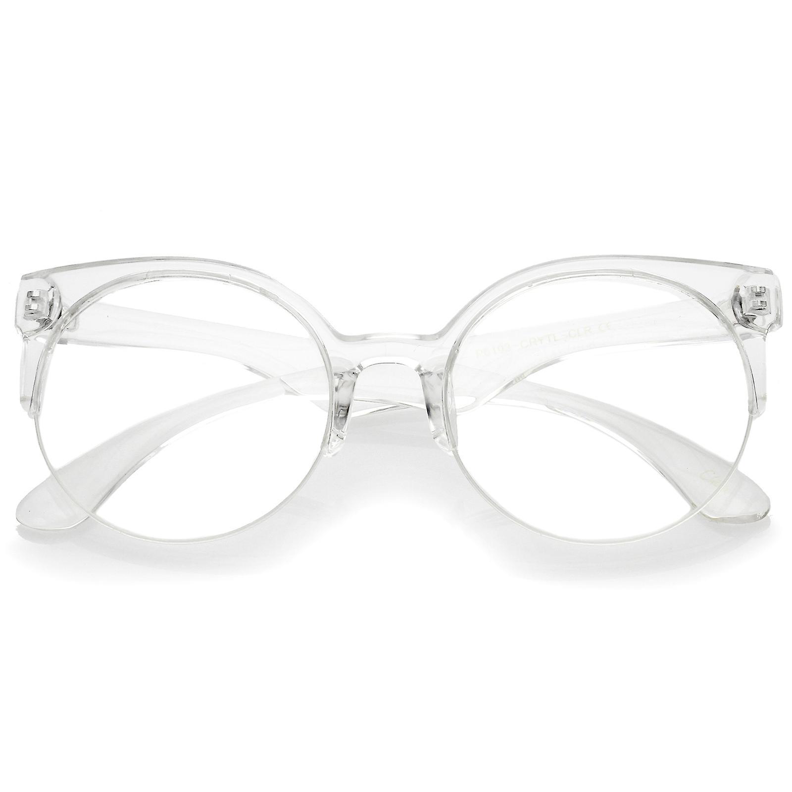 8c97664bcf0a Moderne gennemsigtig ramme runde klar linse semi-uindfattede briller 54 mm