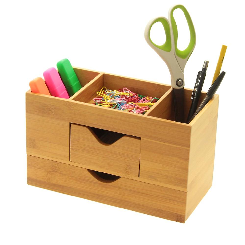 Woodquail bamboo desk organiser tidy five compartments stationery box with 2 drawers fruugo - Desk stationery organiser ...