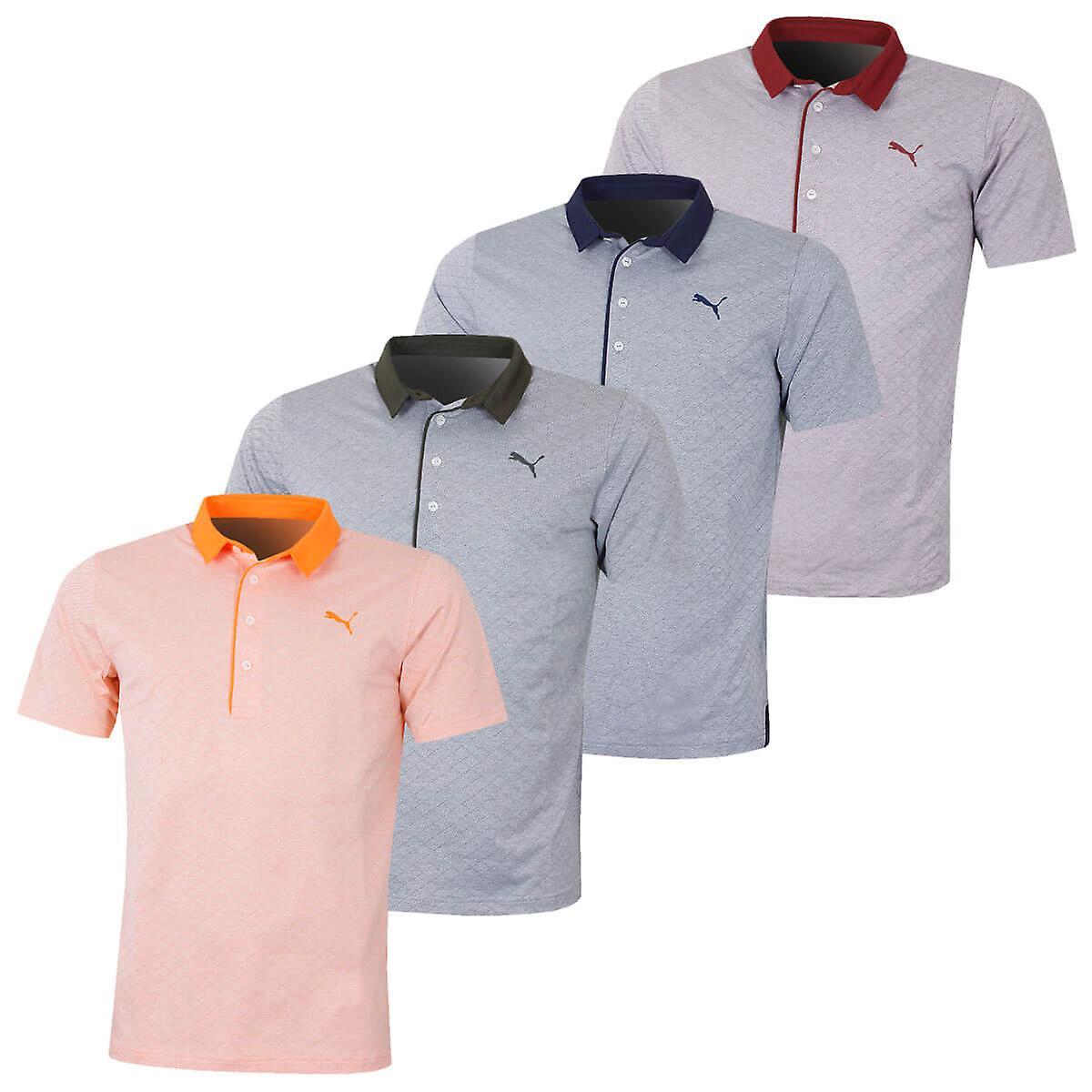 aa2bfbd84e Puma Golf Mens Diamond Jacquard Golf Polo Shirt