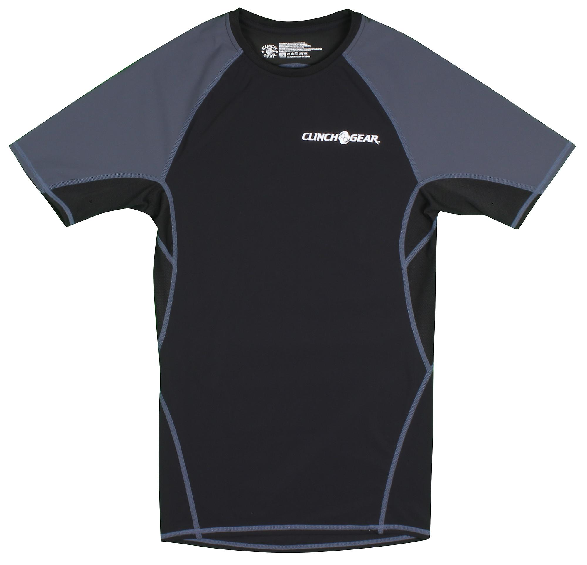 Clinch Gear Mens React Short Sleeve MMA Wrestling Rashguard - Black/Gray