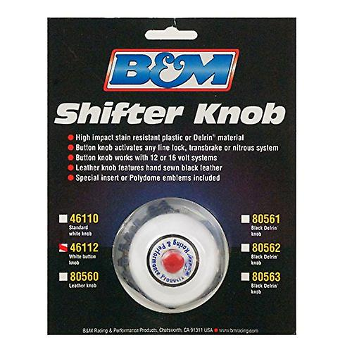 B/&M 46112 White Replacement Shifter Knob with Button and SAE Threads