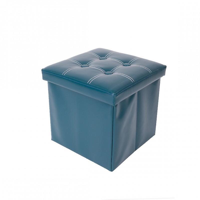Rebecca Mobili Pouf Contenitore Puff Sgabello Cubo Apribile Verde Eco Pelle
