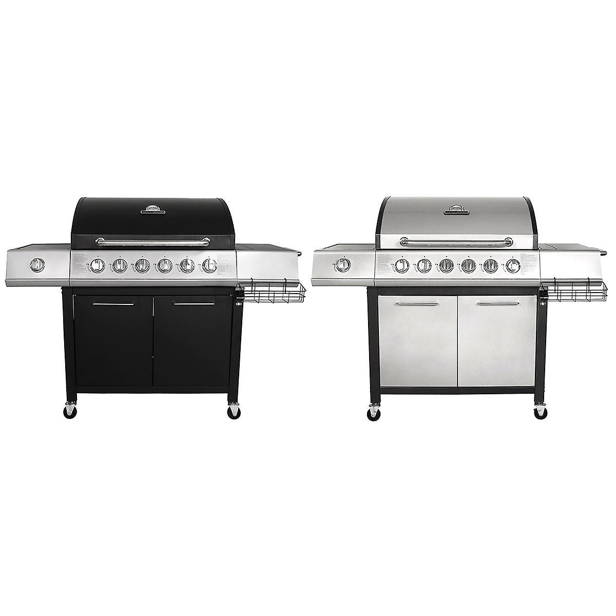 Charles Bentley 7 Burner Premium Gas Bbq Steel Barbecue With Wheels (6X  Burner + 1X Side Burner) - Black & Grey Colours Available