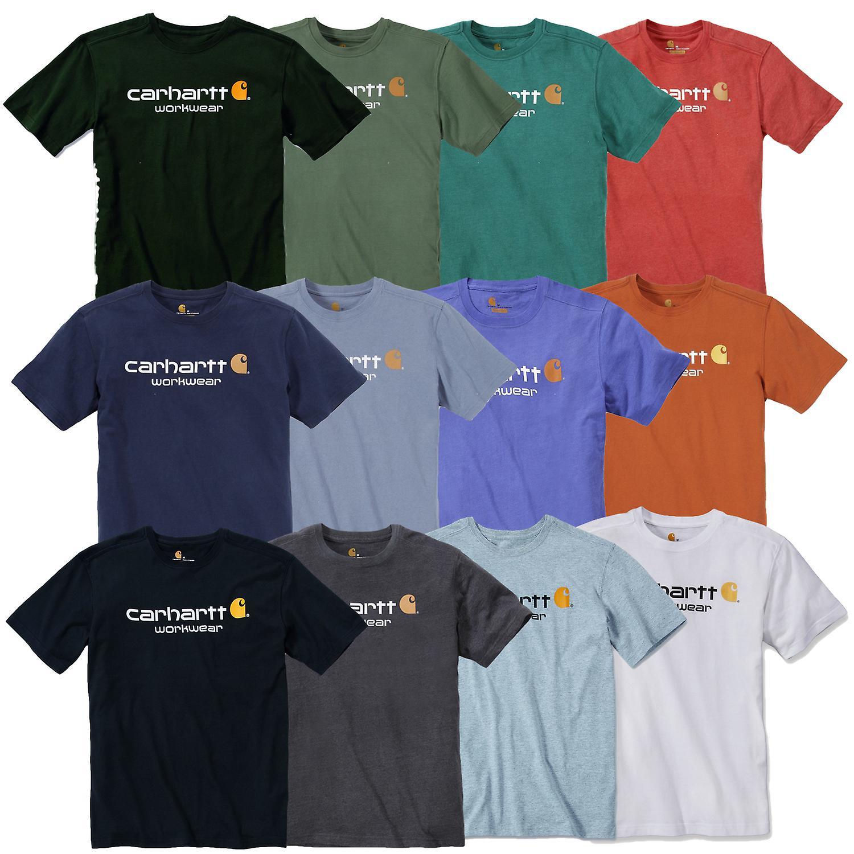 Carhartt T-Shirt Core Logo T-Shirt S/S Fired Brick Heather-XL Abbigliamento da lavoro e divise