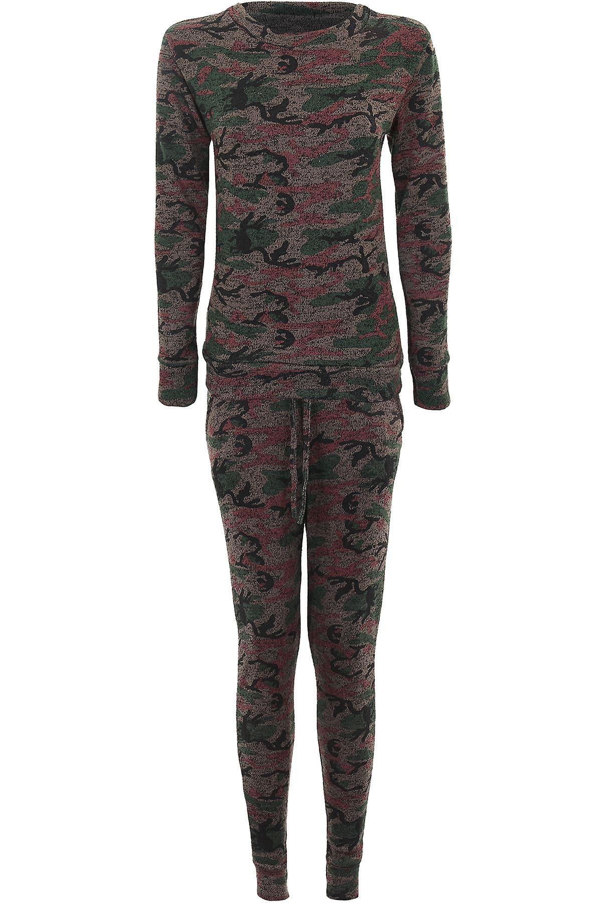 d50c21af8eeb5 Ladies Army Camouflage Printed Tracksuit 2 Piece Lounge Stretch Jogging Suit