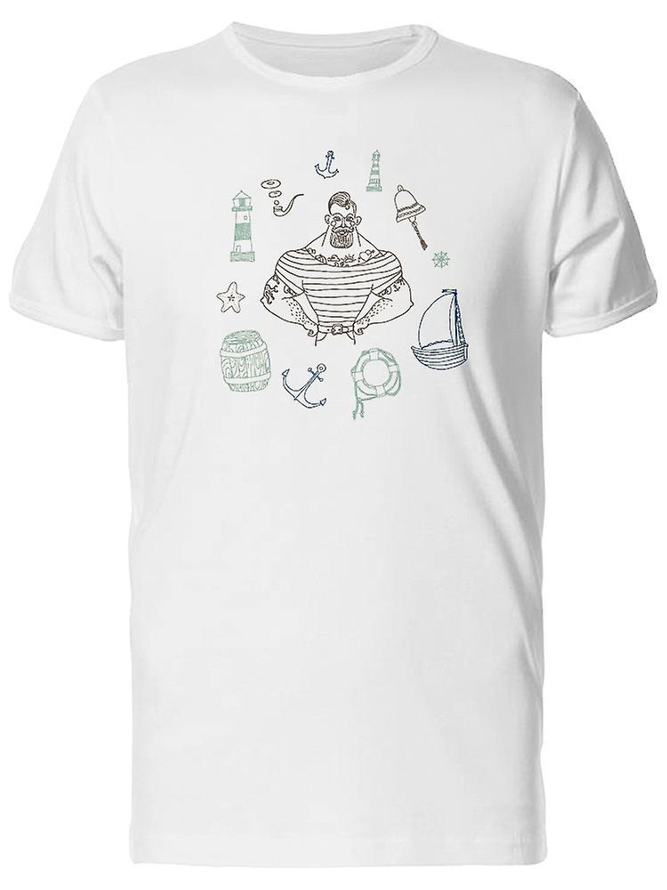 4fcbdb47dc6057 Männliche Matrose Kritzeleien T-Shirt Herren-Bild von Shutterstock ...