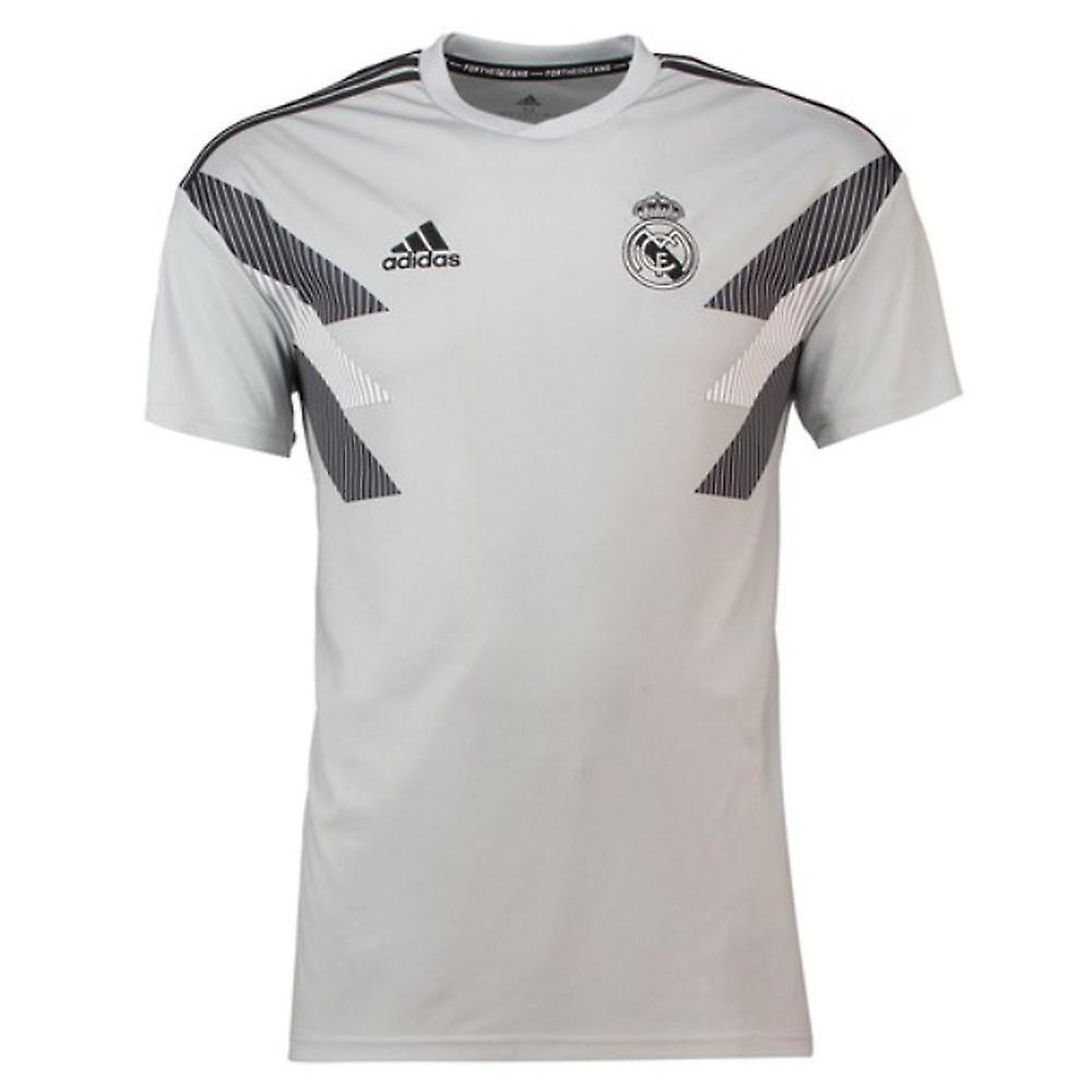 ff7b6ee3a34 2018-2019 Real Madrid Adidas Pre-match Training Shirt (Grey) - Kids ...