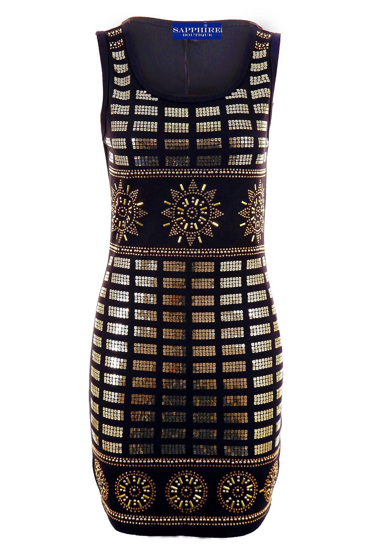 Damerna guld paljett broderi översållad sträcka Bodycon Women s Party  klänning 623def2688f38