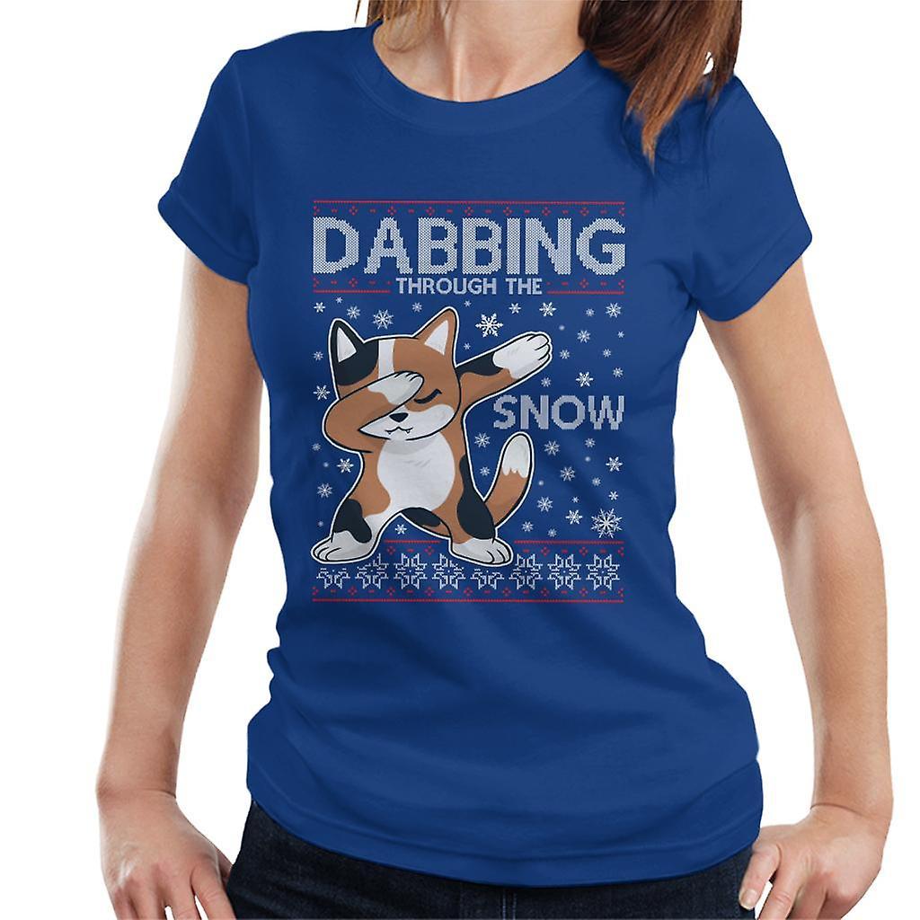 Dabbing Through The Snow Cat Christmas Knit Pattern Women's T-Shirt
