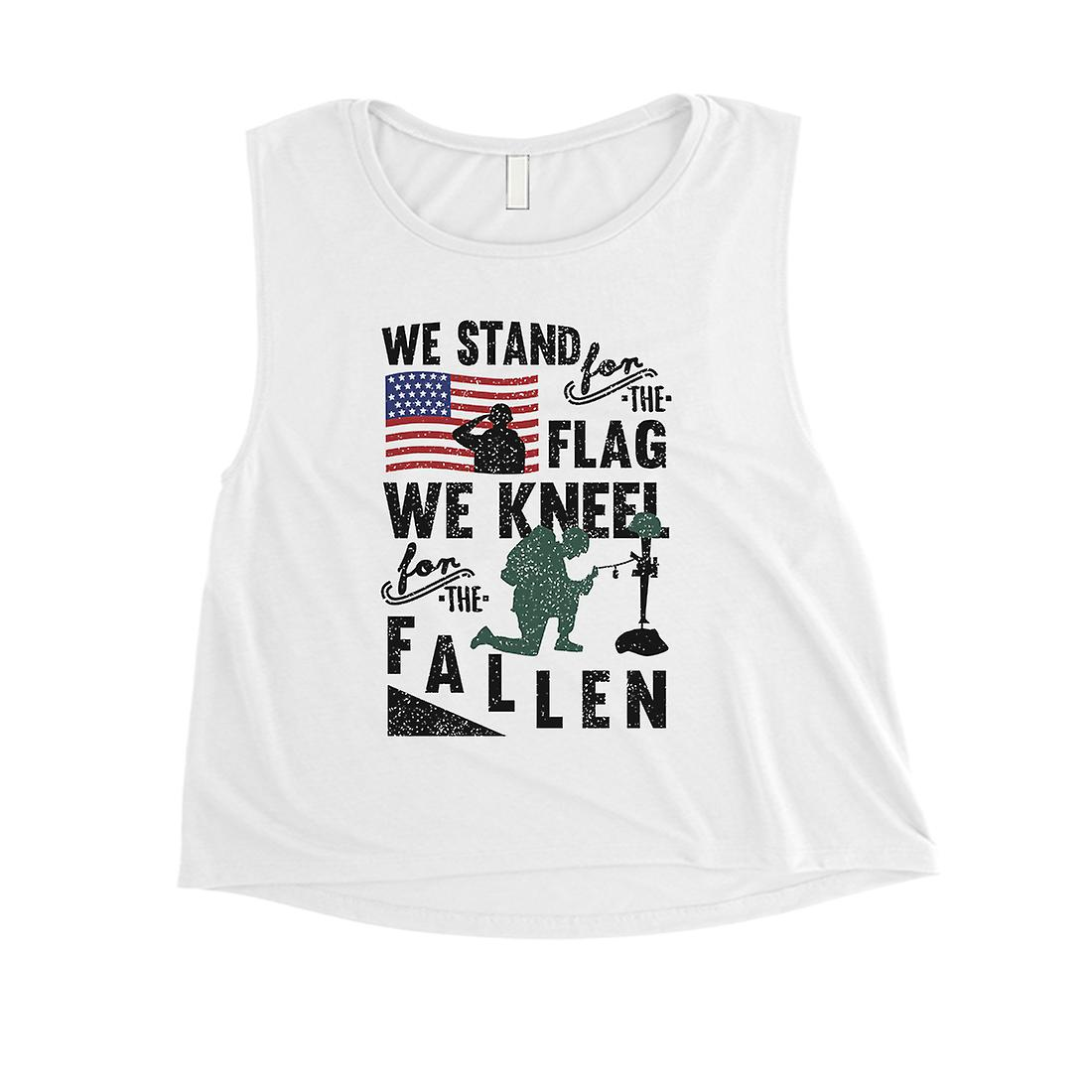 1610b15a17d3d We Stand We Kneel Womens Cute White Crop Tank Top Memorial Day Gift ...