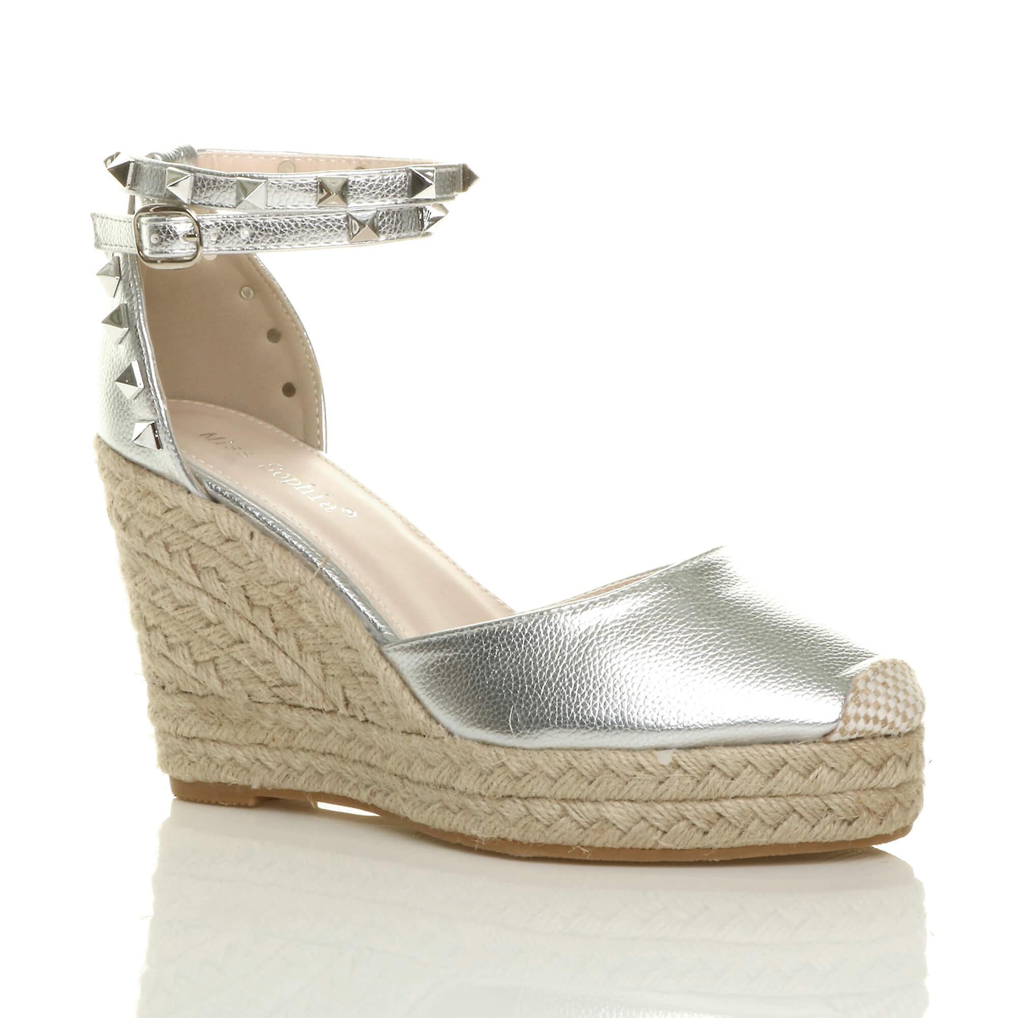 nuevo estilo 5349c 12f0b Ajvani mujer alta cuña tobillo correa alpargatas zapatos sandalias de tacón  tachonado