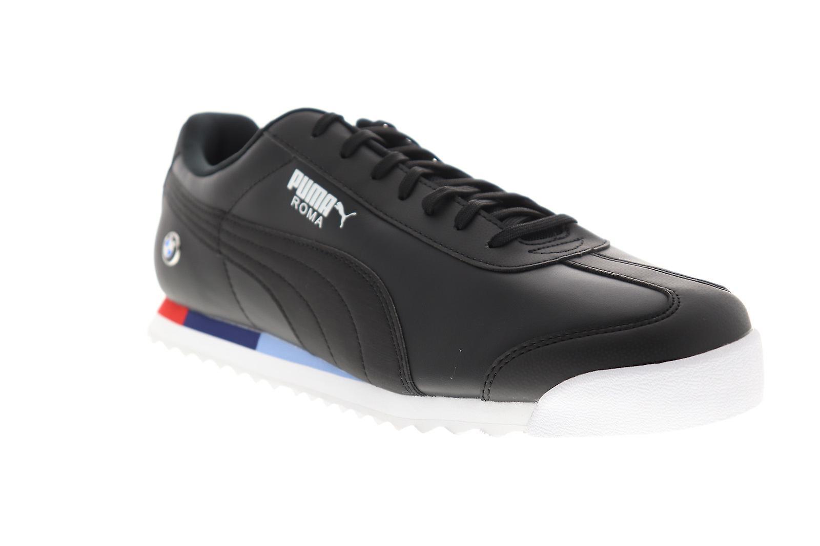 Puma BMW MMS Roma menns svart skinn lav topp joggesko sko