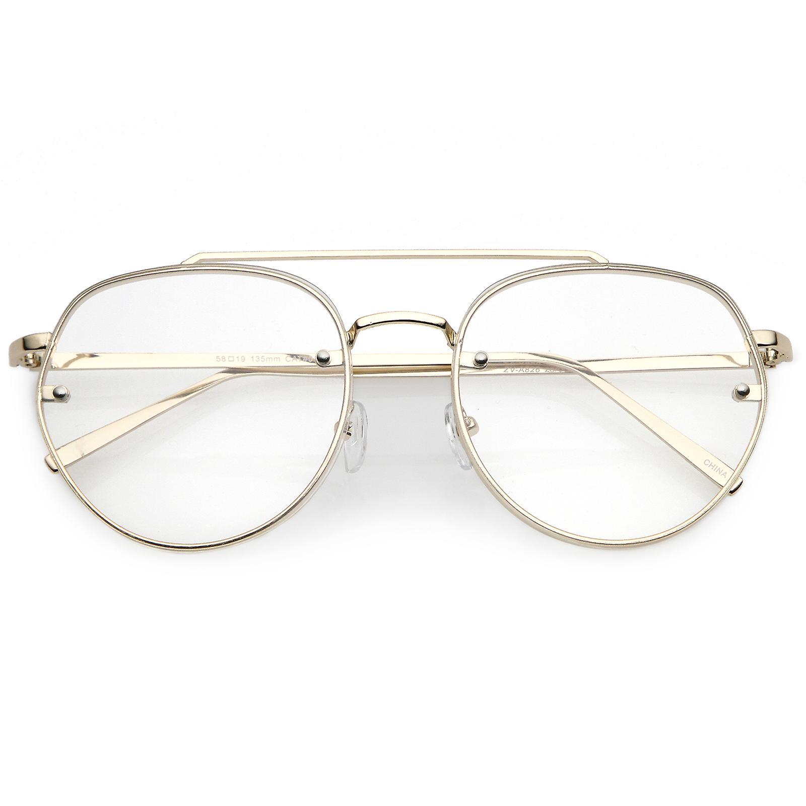 f6a40e13e2 Modern Round Aviator Eyeglasses Slim Brow Bar Rimless Clear Flat Lens 59mm
