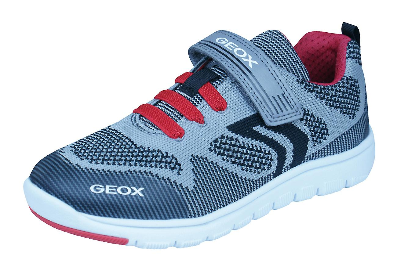 Geox J Xunday B J Boys Trainers   Shoes - Grey and Red  7853f827eff