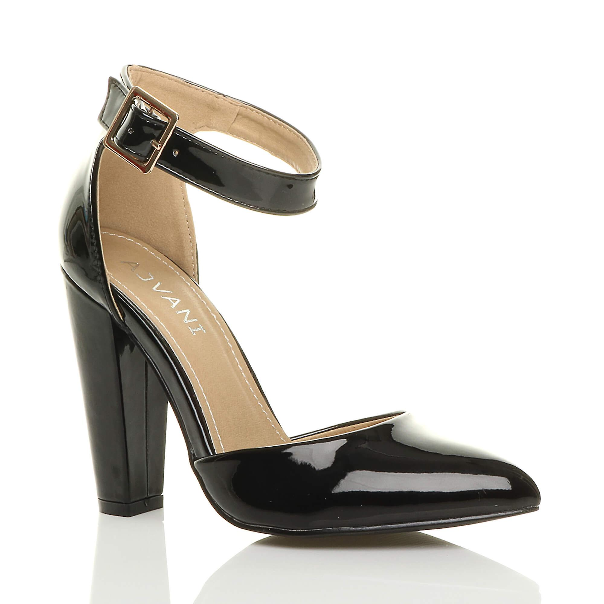 8e140eac16d Ajvani womens high block heel cuff ankle strap buckle pointed court shoes  pumps sandals