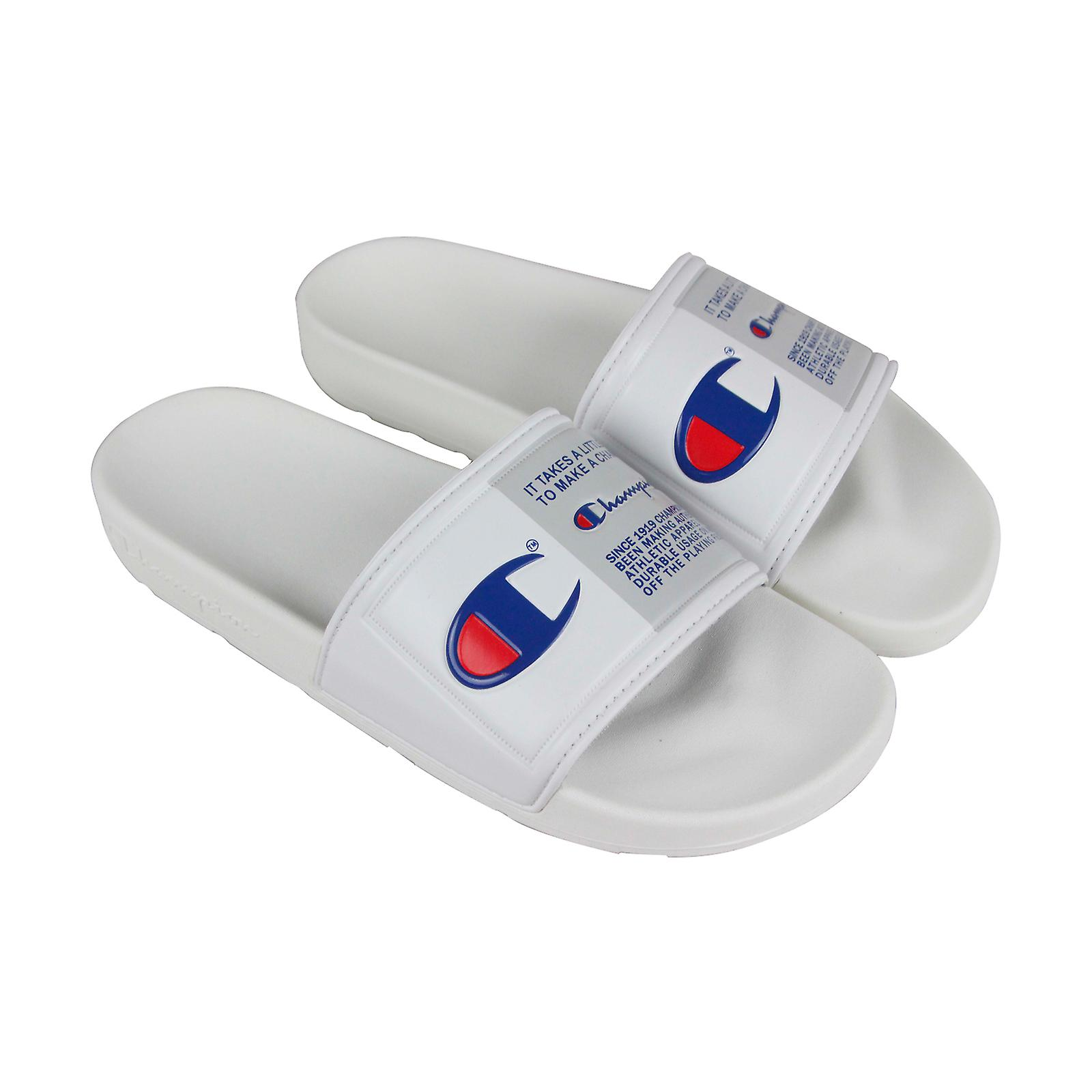 d683020fd6be4 Champion Ipo Jock Mens White Synthetic Slides Slip On Sandals Shoes ...