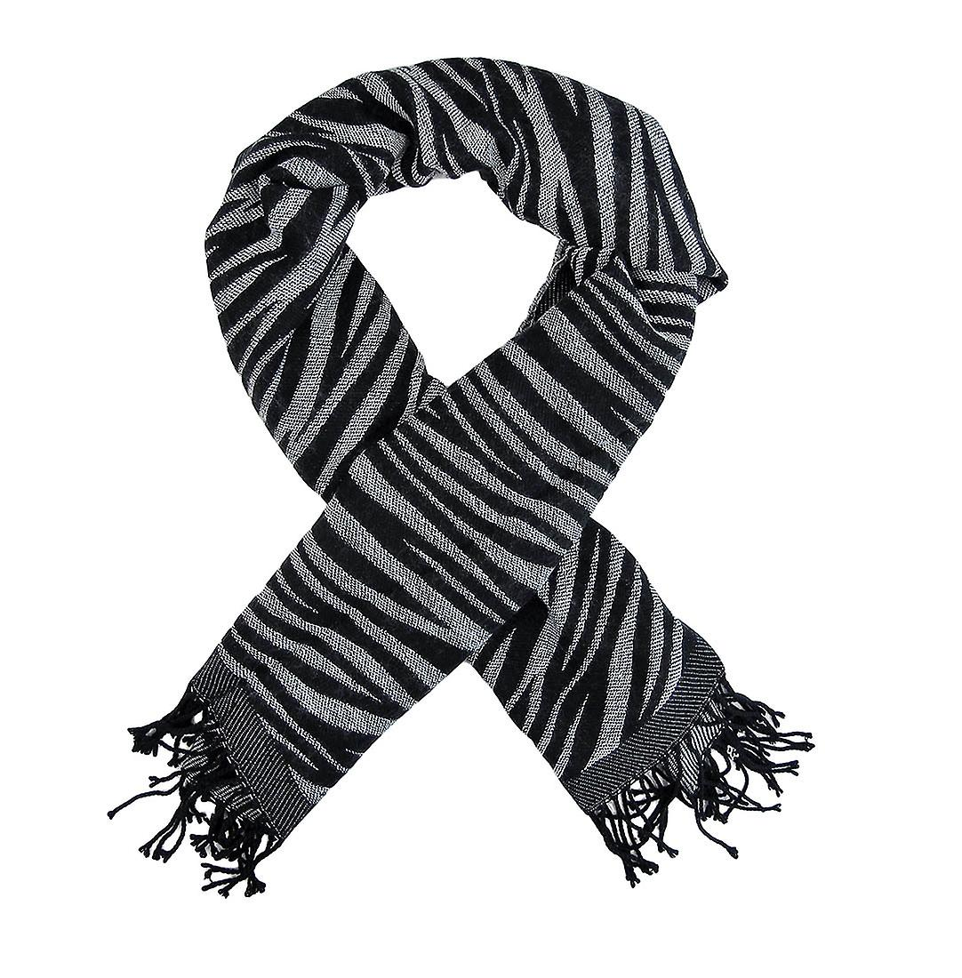 Svart   vit Zebra Stripe halsduk sjal fransar  878268cb118fa
