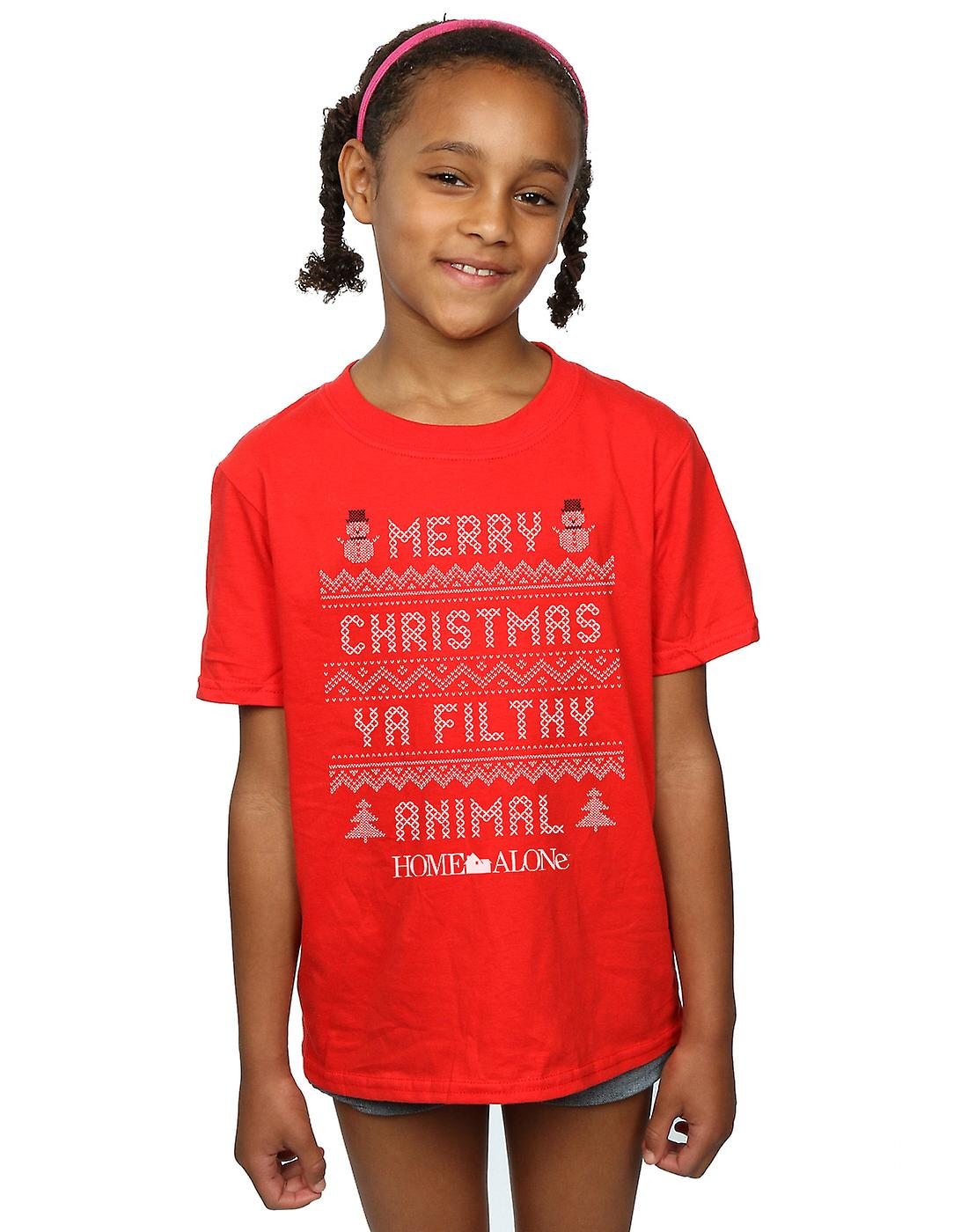 f6e68c88 Home Alone Girls Filthy Animal Knit Style T-Shirt | Fruugo