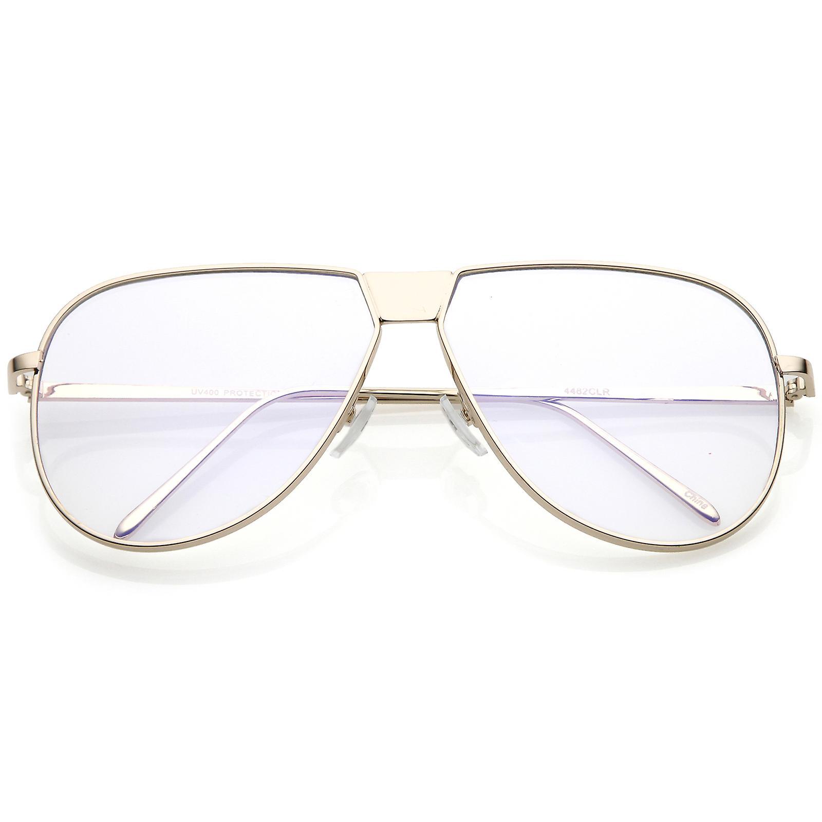 9be9ad791 نظارات الطيار أعلى شقة كامل معدنية كبيرة الحجم واضحة مسطحة العدسة 60 ...