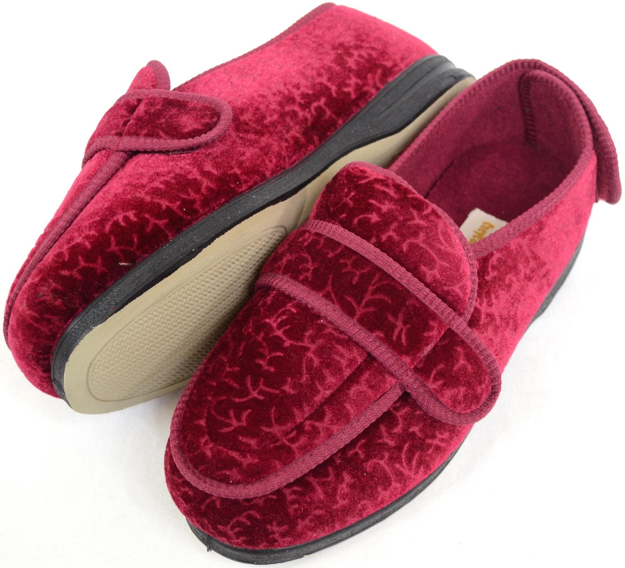 415e8fc9460 Ladies   Womens Orthopaedic   EEE Wide Fit Velcro Slipper Boot   Slippers -  Burgundy -