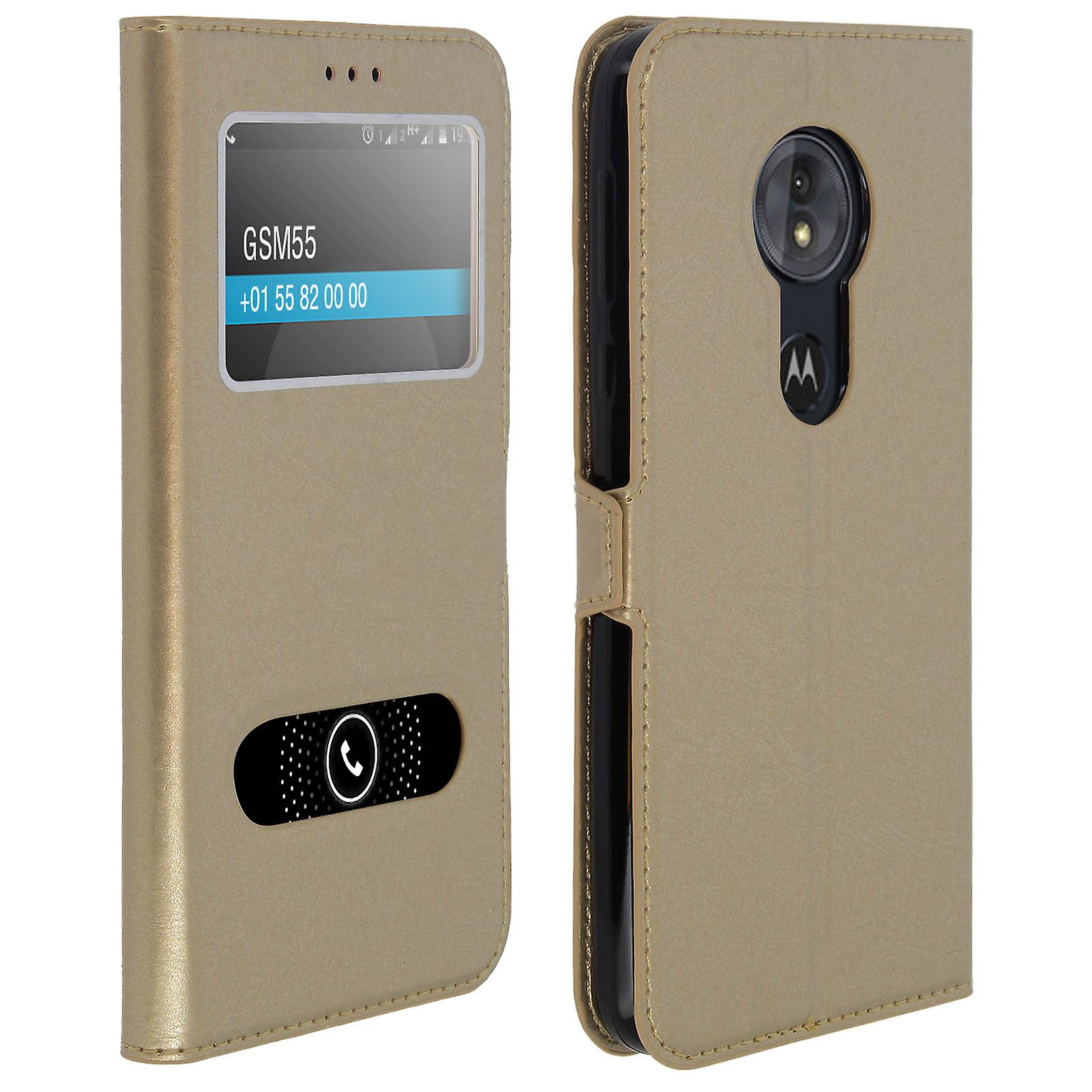 online retailer 58fb7 a9dee Double window flip standing case for Motorola Moto G6 Play with TPU shell -  Gold
