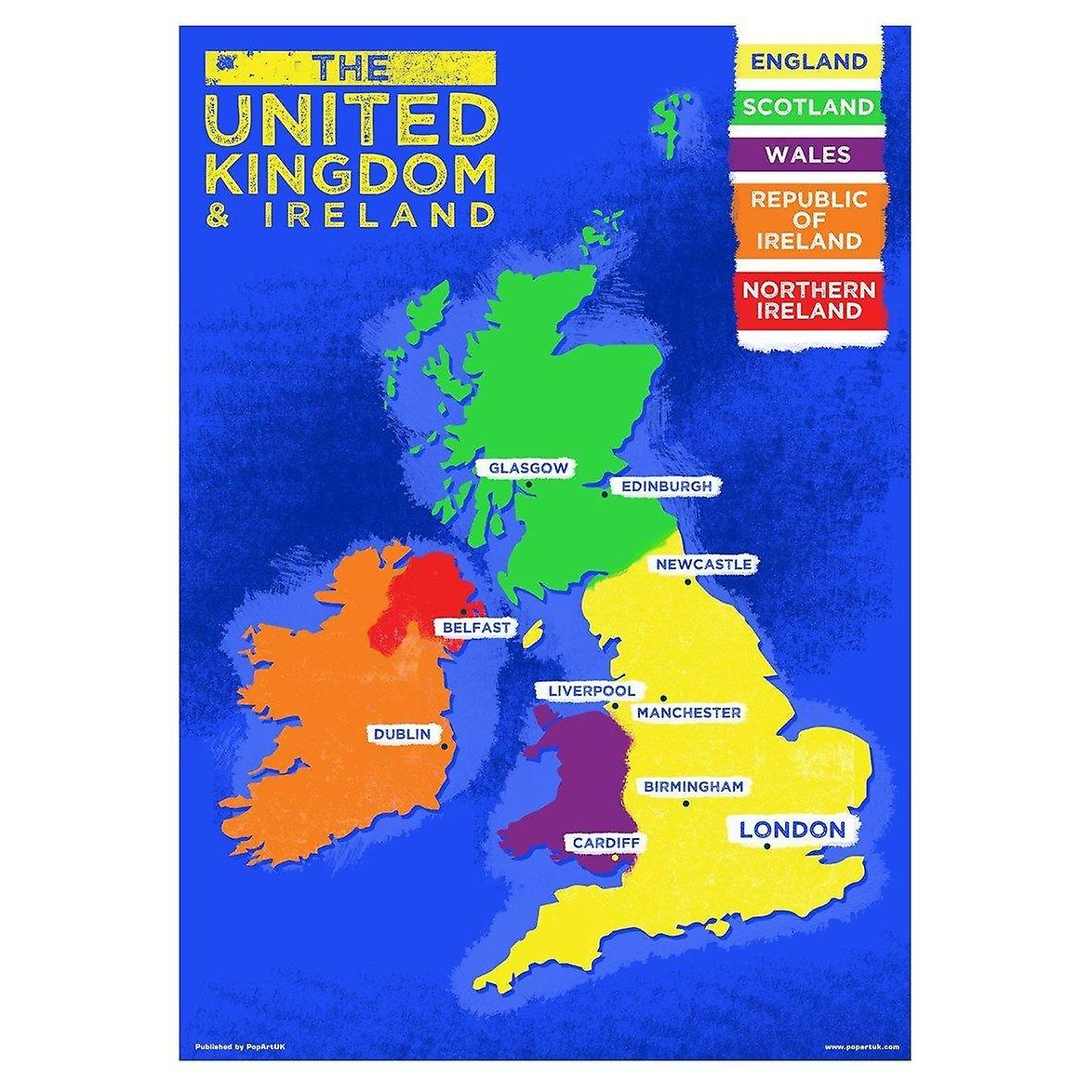 Map Of England Poster.Grindstore Uk Ireland Country Map Mini Poster
