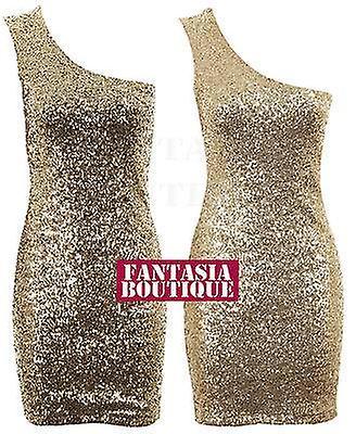 Damer ärmlös guld paljett Shoulder Strap Plain tillbaka Womens klänning 9f3ddda5340c4