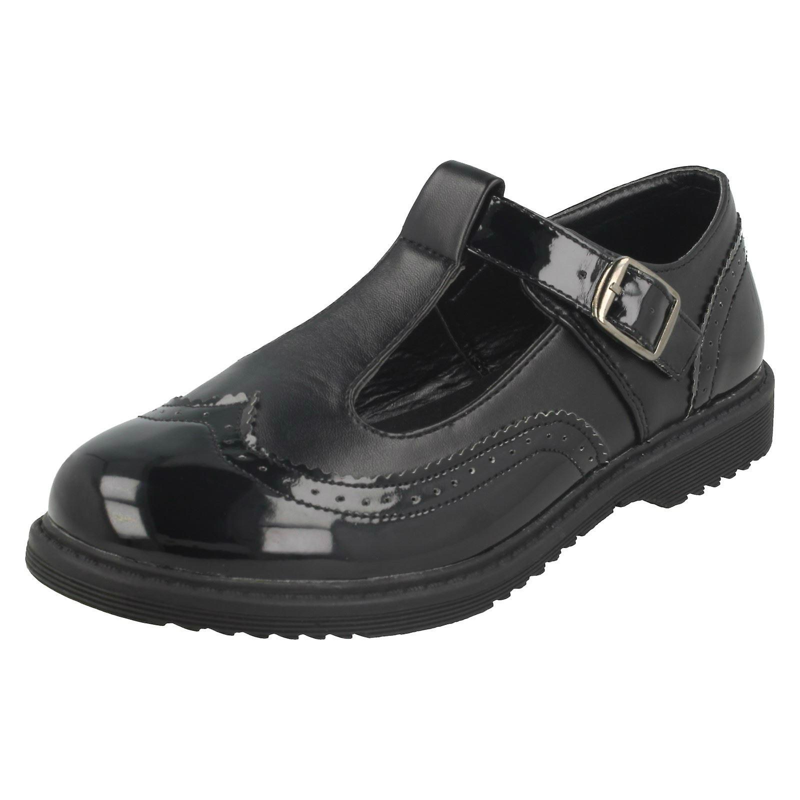 Girls Cool For School T Bar Brogue School Shoes H2435