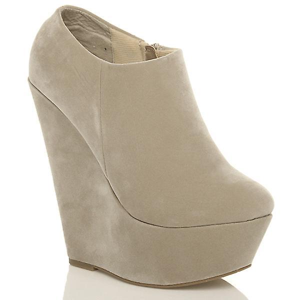Ajvani kvinners høy hæl kile plattform zippe ankel sko