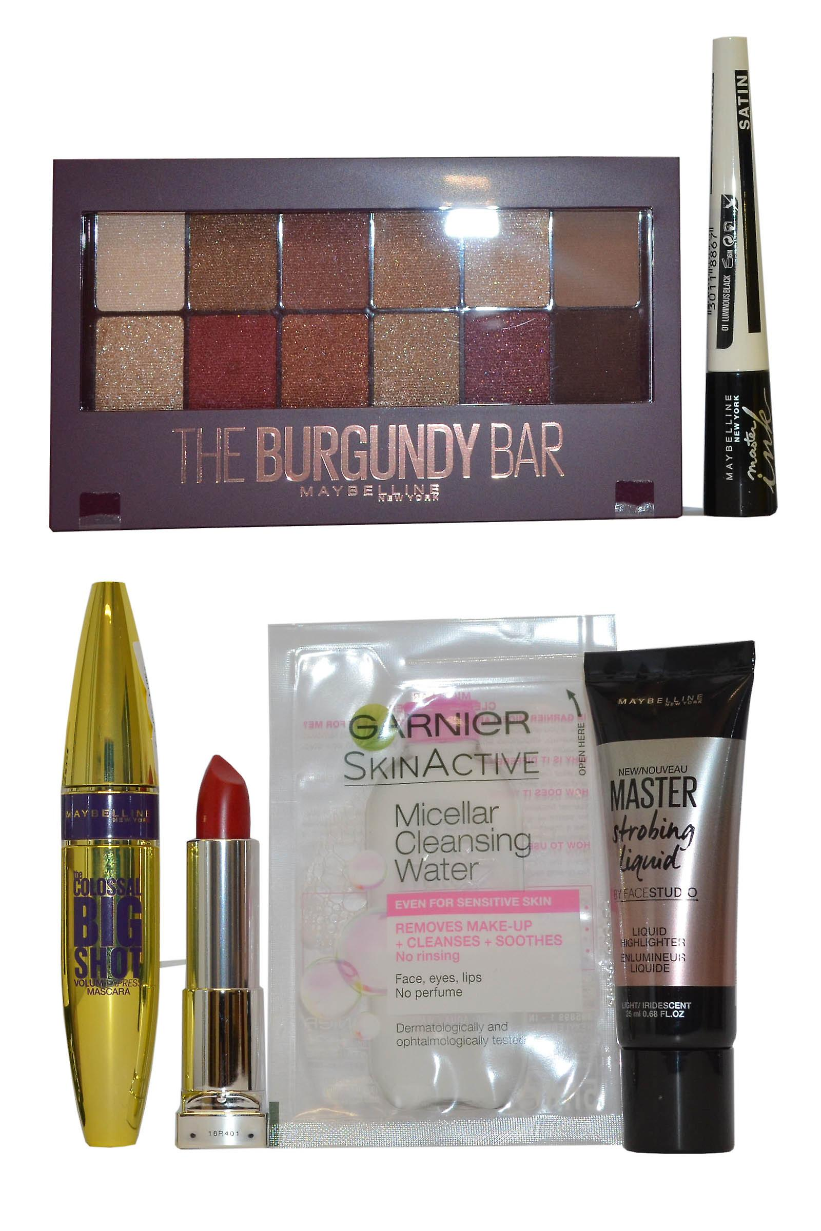 1393b112019 Maybelline The Burgundy Bar Compact, Highlighter Colossal Mascara,  Lipstick, Master Ink+