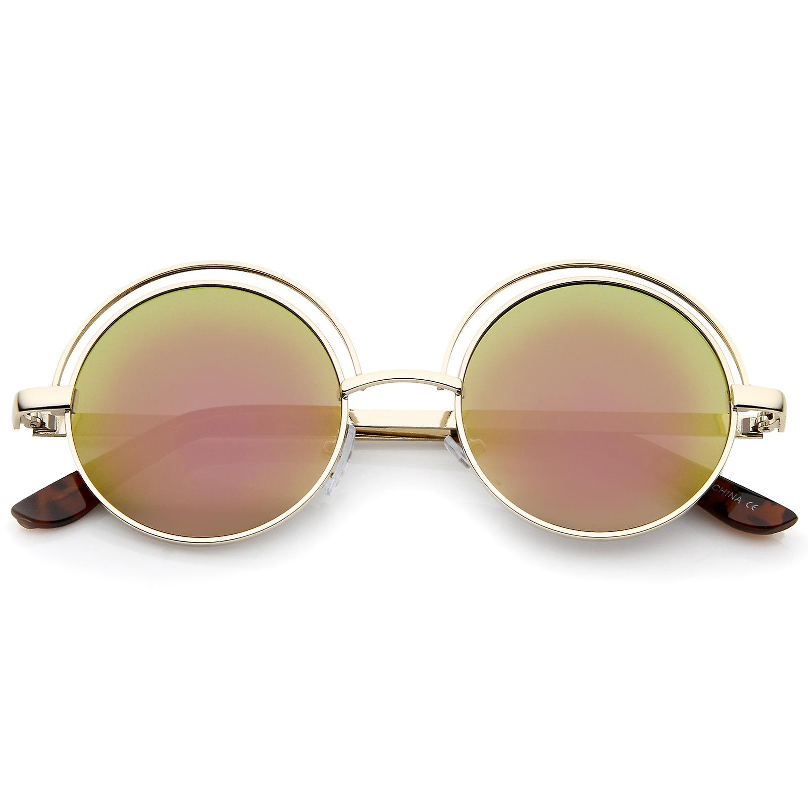 ff498c0dc8512 Retro Open Metal Colored Mirror Flat Lens Round Sunglasses 48mm