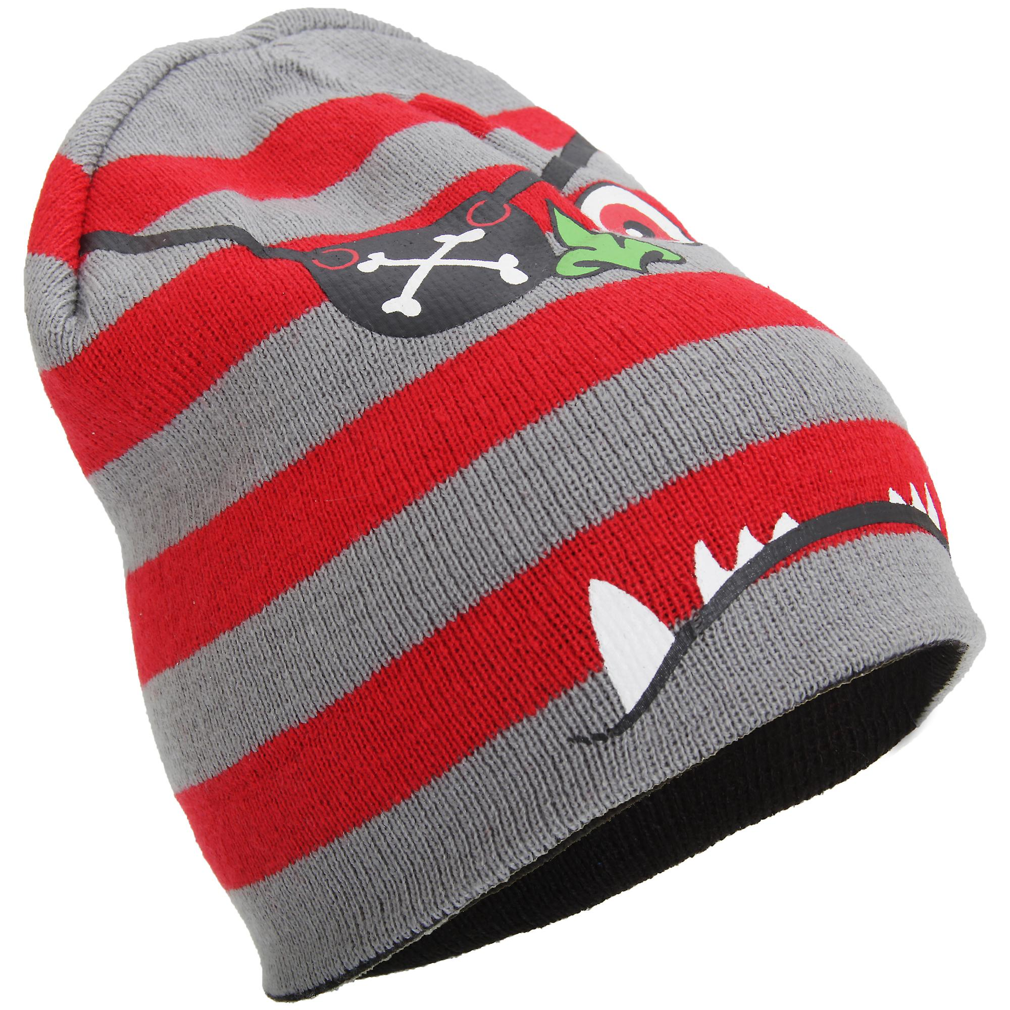 Childrens Boys Knitted 4-In-1 Reversible Monster Design Beanie Hat ... a8945ef092c