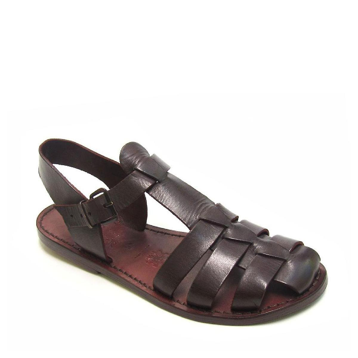 15e8aef11f4b05 Dark brown flat sandals for women real leather Handmade in Italy ...