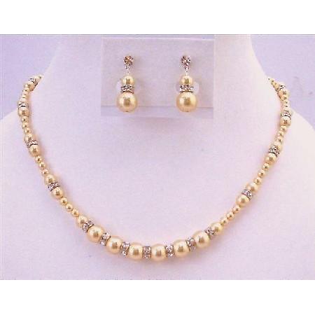 Guld pärlor ljus guld pärlor smycken bröllop gåva pärlor halsband ... 4e8f5d5a32712
