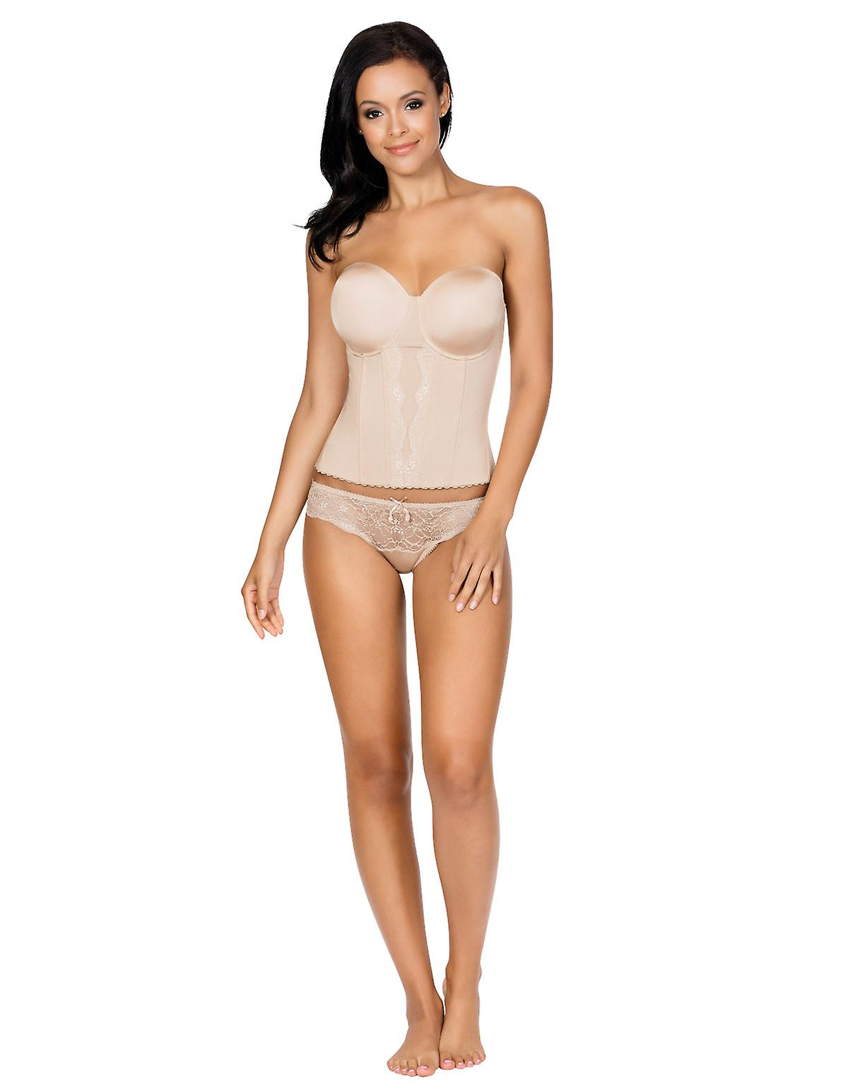 07bc253bad4 Parfait P5017 Women s Elissa European Nude Underwired Corsetted Top Low-Back  Bustier