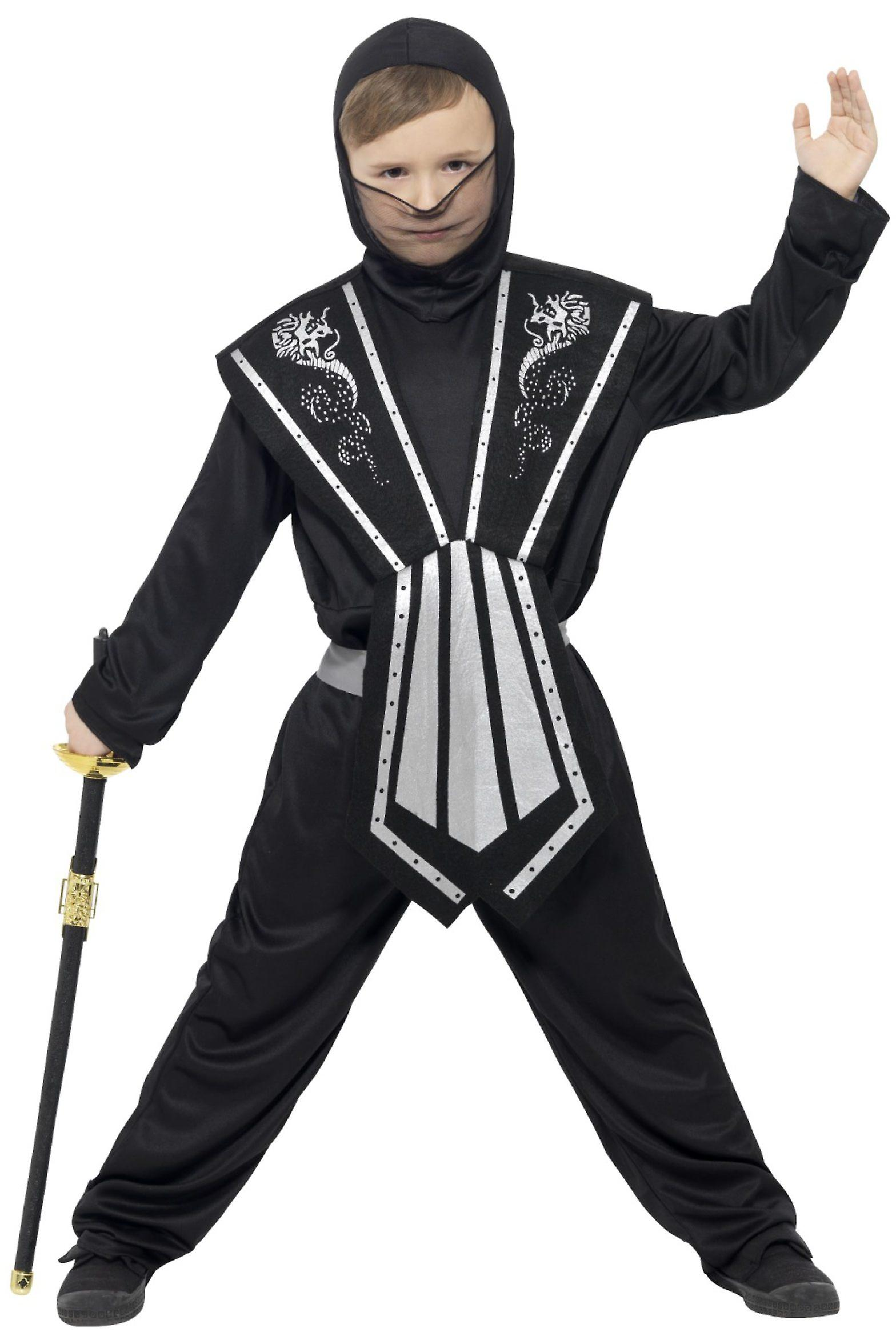 Faschingskostüme Für Kinder Kinder Ninja Kostüm Schwarz Silber Fruugo