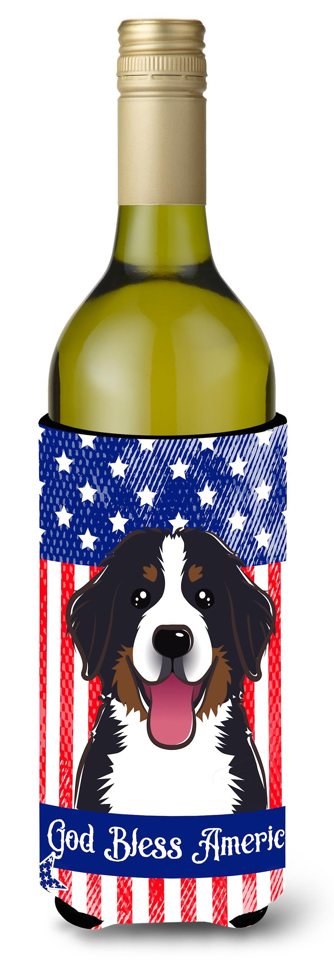 Gott segne amerikanische Flagge mit Berner Sennenhund Weinflasche ...