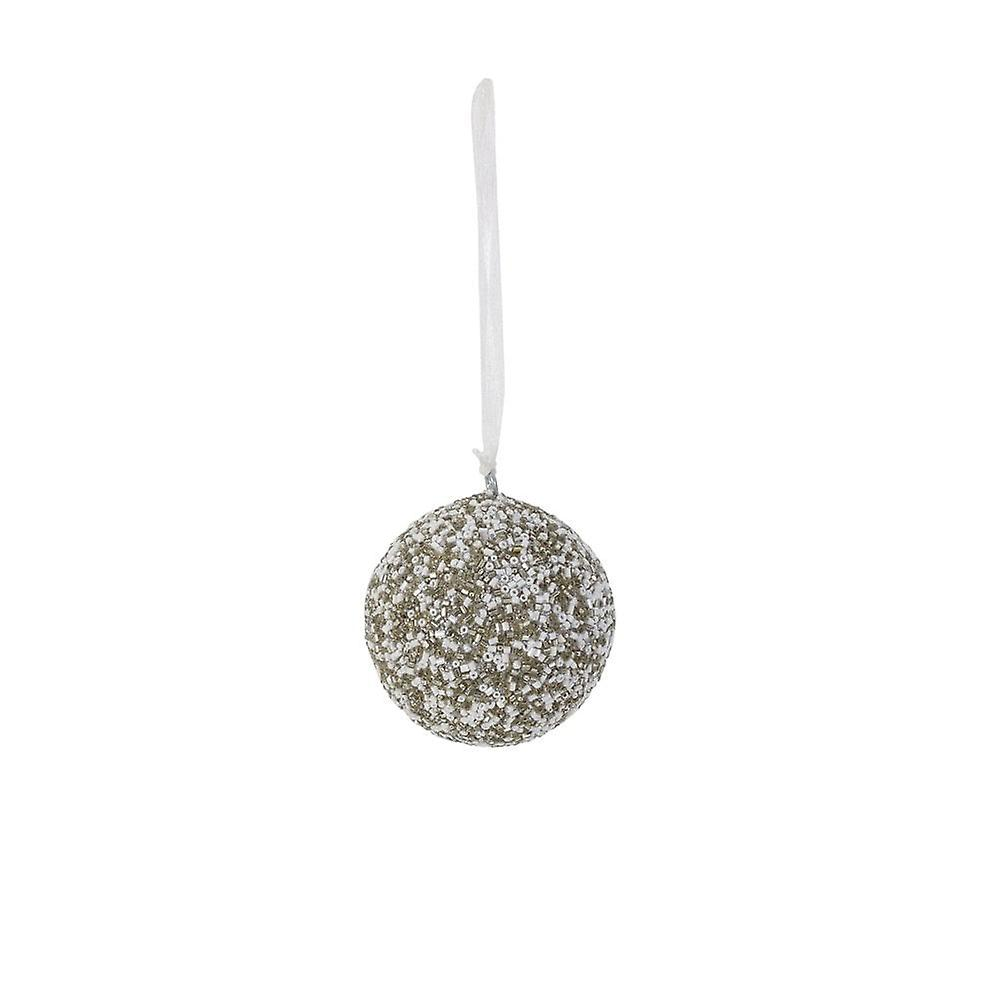 Lys & Levende Christmas Bauble Runde 7cm Napu Silver Creme