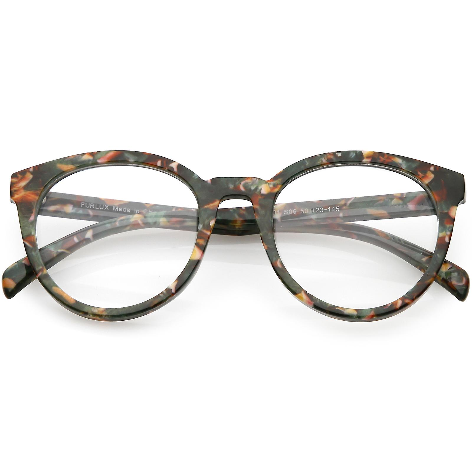 Kvinnors Marble tryckt runda glasögon Horn kantade klar lins 50mm ... b0151c78ad77a