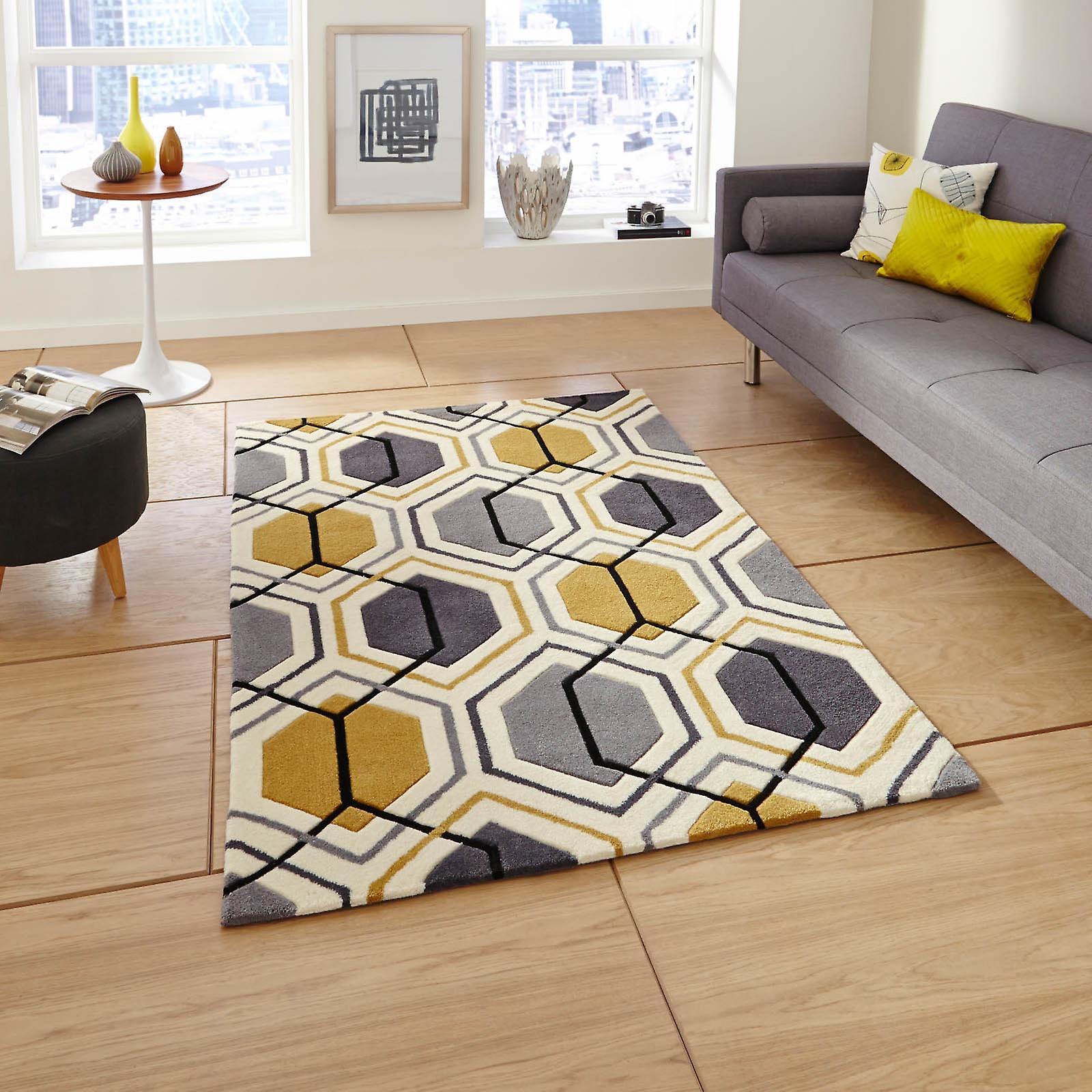 hong kong hk 7526 tapis gris jaune fruugo. Black Bedroom Furniture Sets. Home Design Ideas