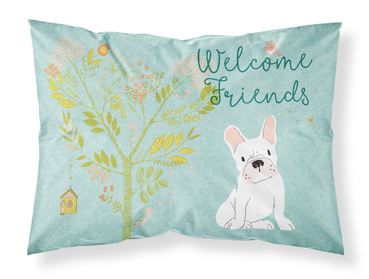 Willkommen Freunde Weiße Französische Bulldogge Stoff Standard