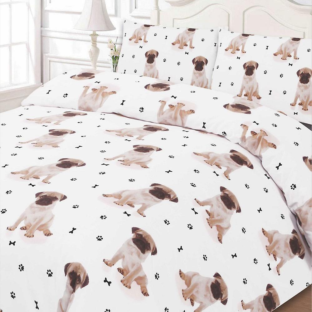 Pug Puppy Duvet Cover With Pillow Case Dog Bedding Set   White Animal Print
