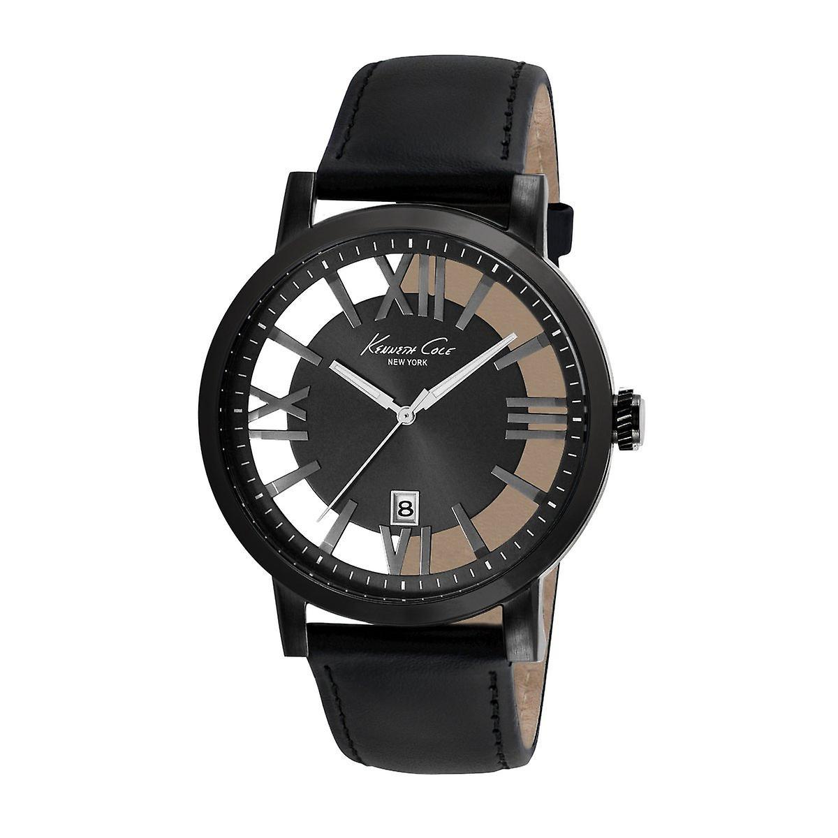 Kenneth Quarz New Herren Analog Cole York Armbanduhr Kc8012 Leder N8nwm0