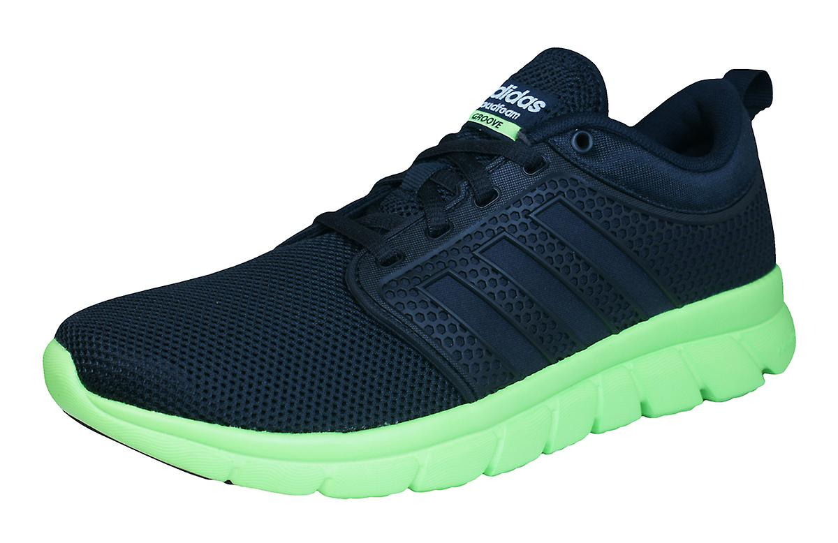 official photos 7a5ff 51aff ... norway adidas neo cloudfoam groove mens running trainers shoes black  and lime 20752 d6b24