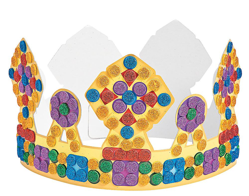 12 Card Glitter Mosaic Crowns For Kids Crafts Parties Fruugo