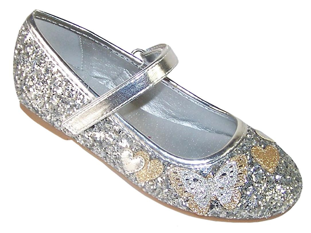 1e70c77baf25 Girls silver sparkly glitter ballerina party shoes | Fruugo