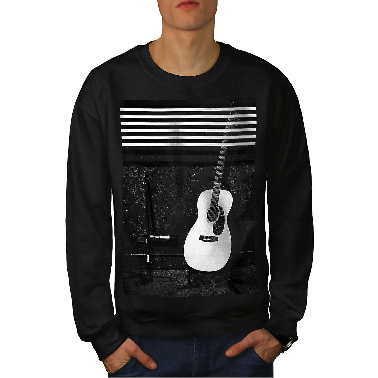 acoustic guitar men blacksweatshirt wellcoda fruugo. Black Bedroom Furniture Sets. Home Design Ideas