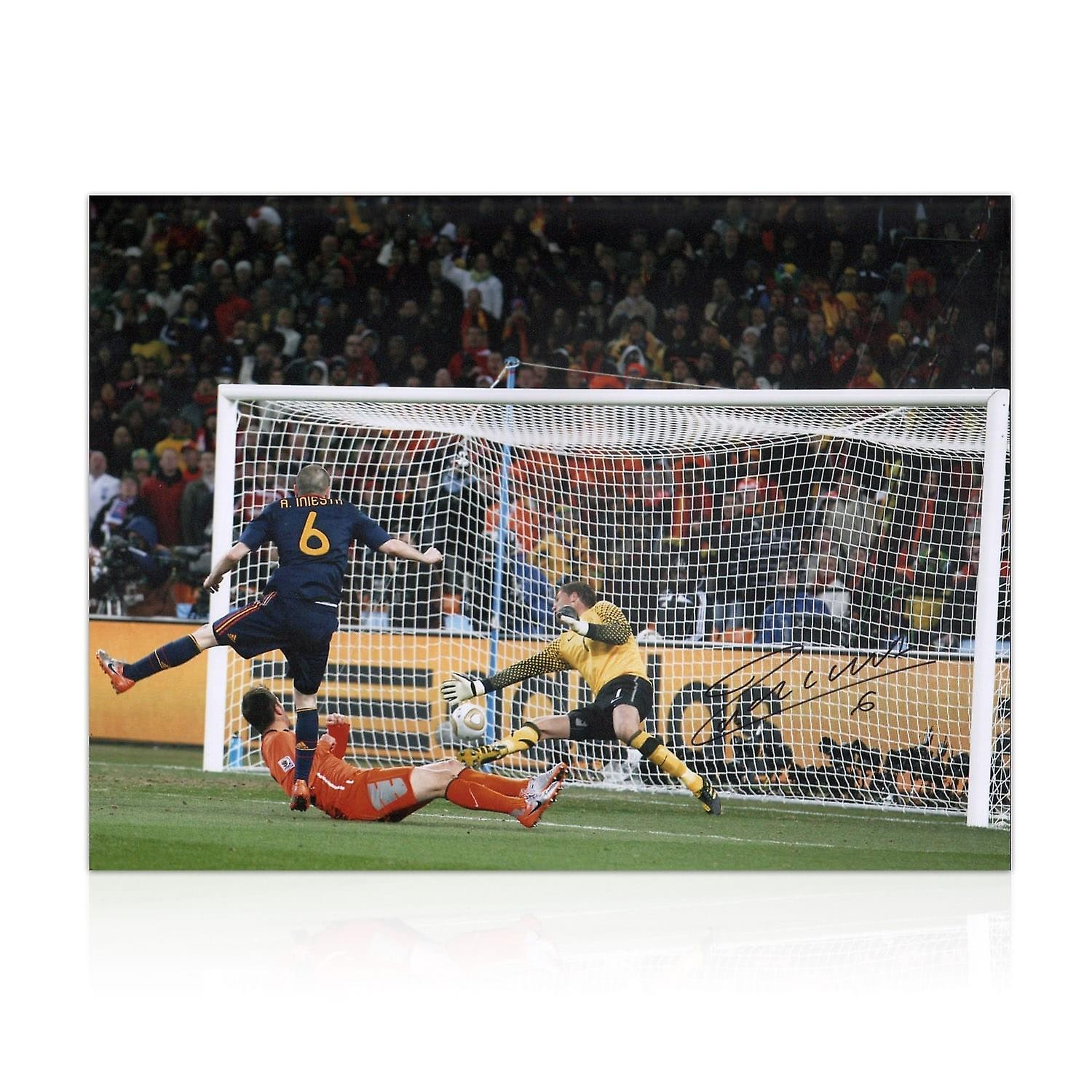 Andres Iniesta Signed Spain Photo  World Cup 2010 Winning Goal  f8f5b77edac42