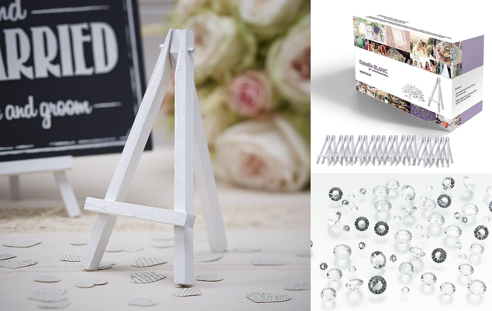 Easelia BLANC   2020pcs Kit Con 20 Cavalletti Di Legno Bianco Mini Tavolo  Da 6 Pollici