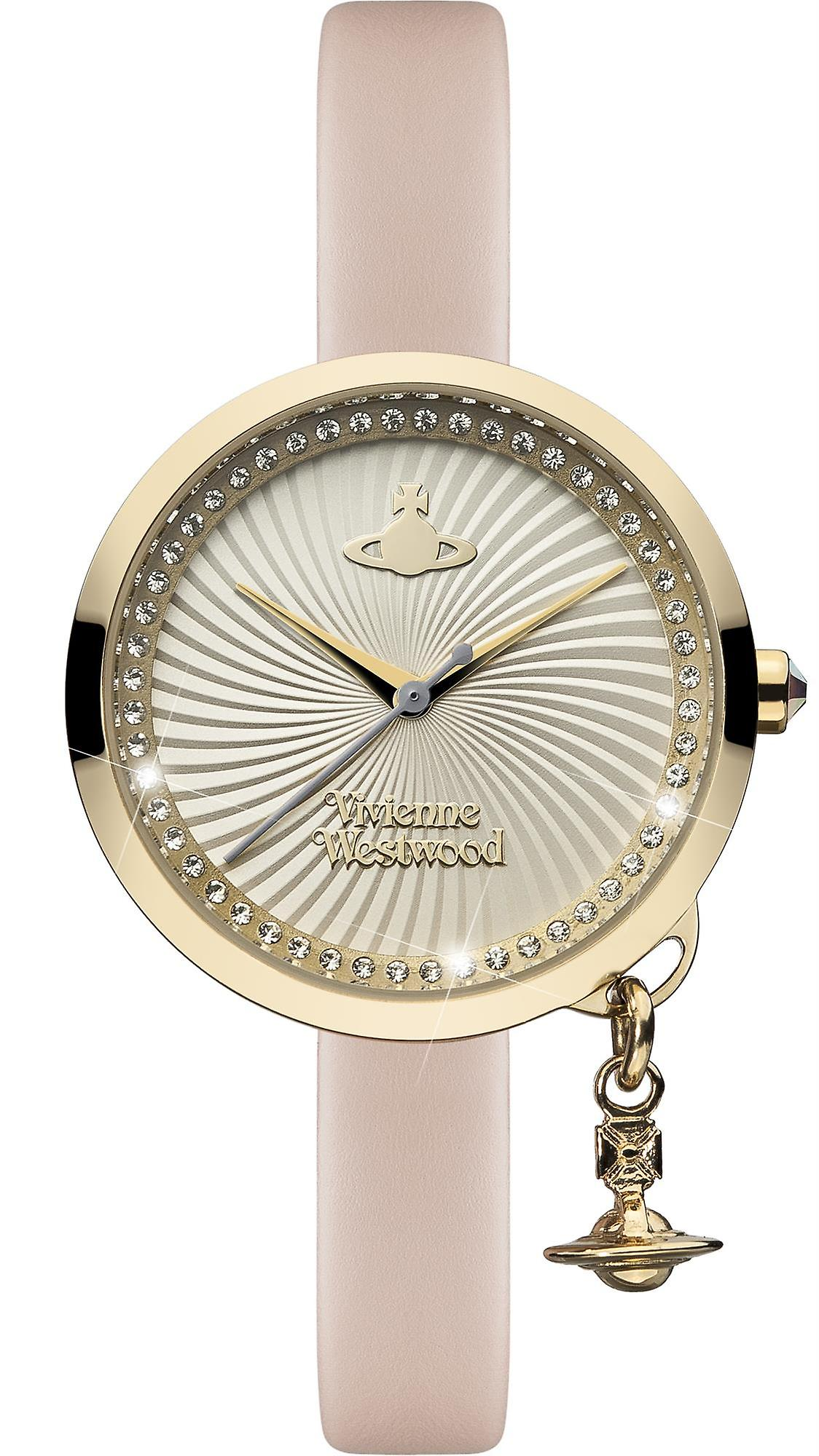9b0b2a21db Vivienne Westwood Bow Orb Charm Pink Leather Strap Gold Ladies' Watch